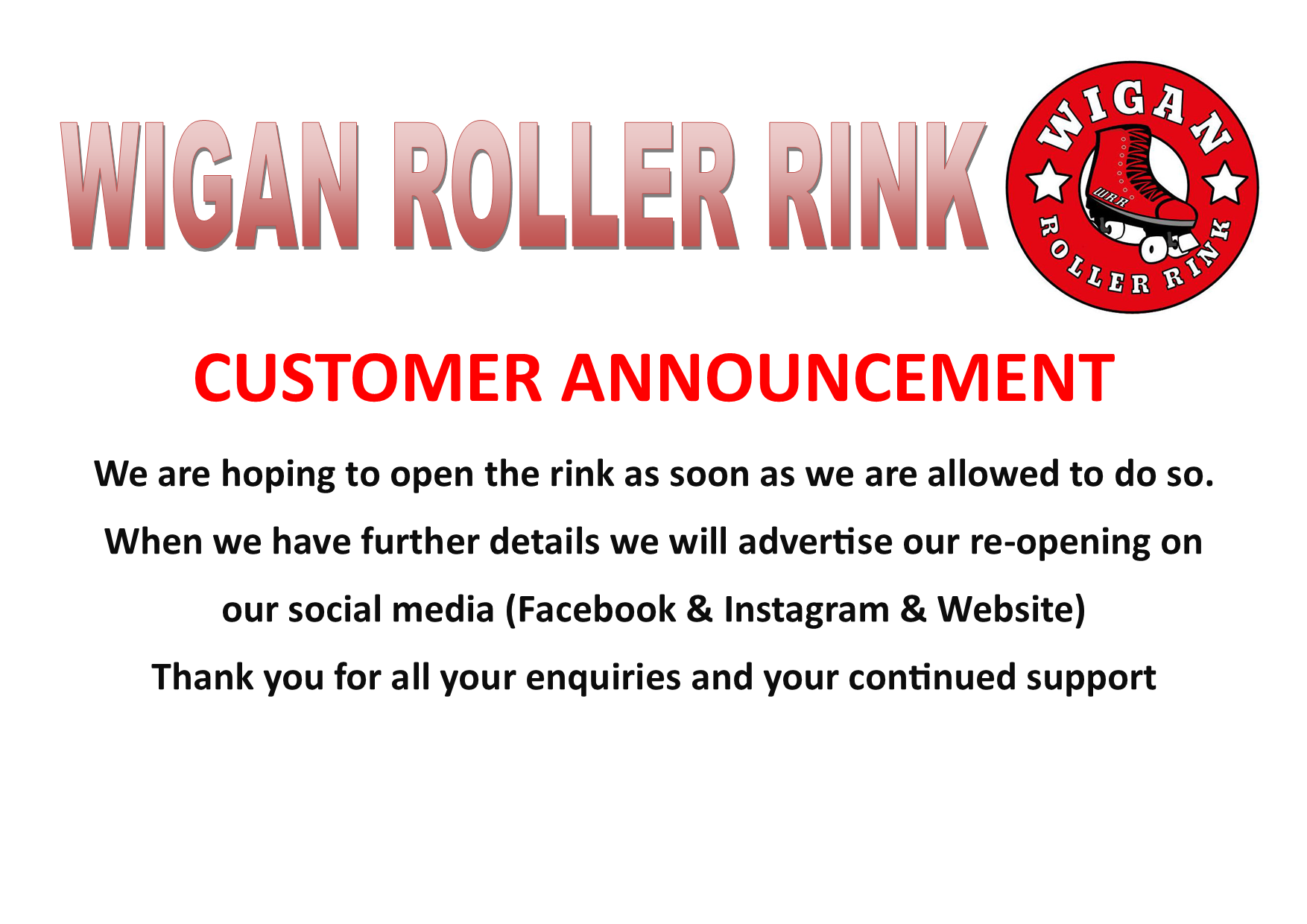 CUSTOMER ANNOUNCEMENT